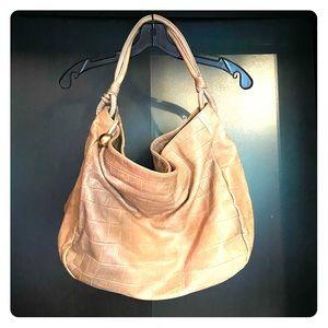 Furla Leather Croc Beige Hobo Bag
